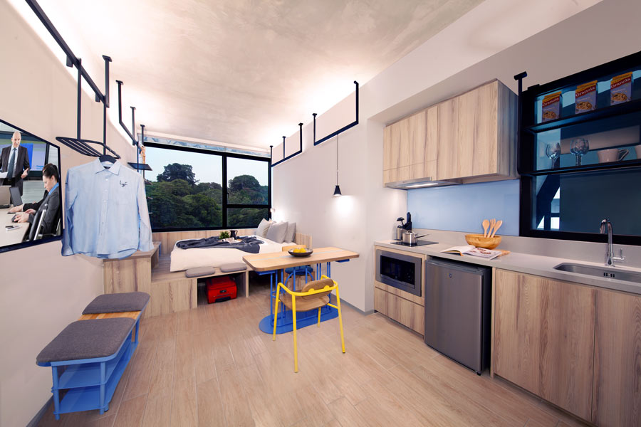 Living and bedroom area at One of a Kind Plus (Studio) apartment at lyf Funan Singapore