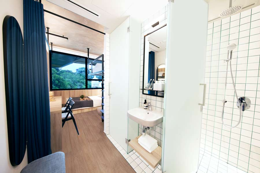 Washroom area at Up and Down (Bunk Studio) apartment at lyf Funan Singapore
