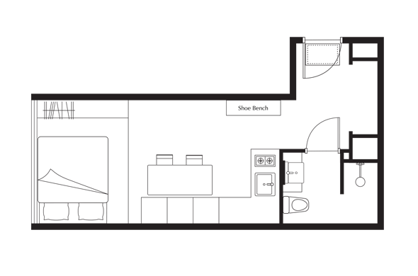 Floor Plan of One of a Kind Plus (Studio) Apartment at lyf Funan Singapore
