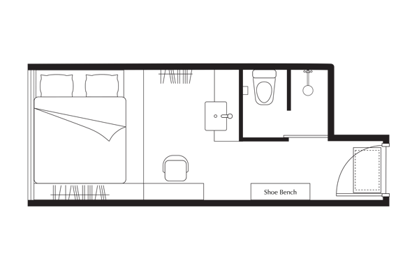 Floor Plan of One of a Kind (Studio) Apartment at lyf Funan Singapore