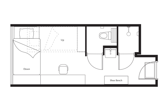 Floor Plan of Up and Down (Bunk Studio) Apartment at lyf Funan Singapore