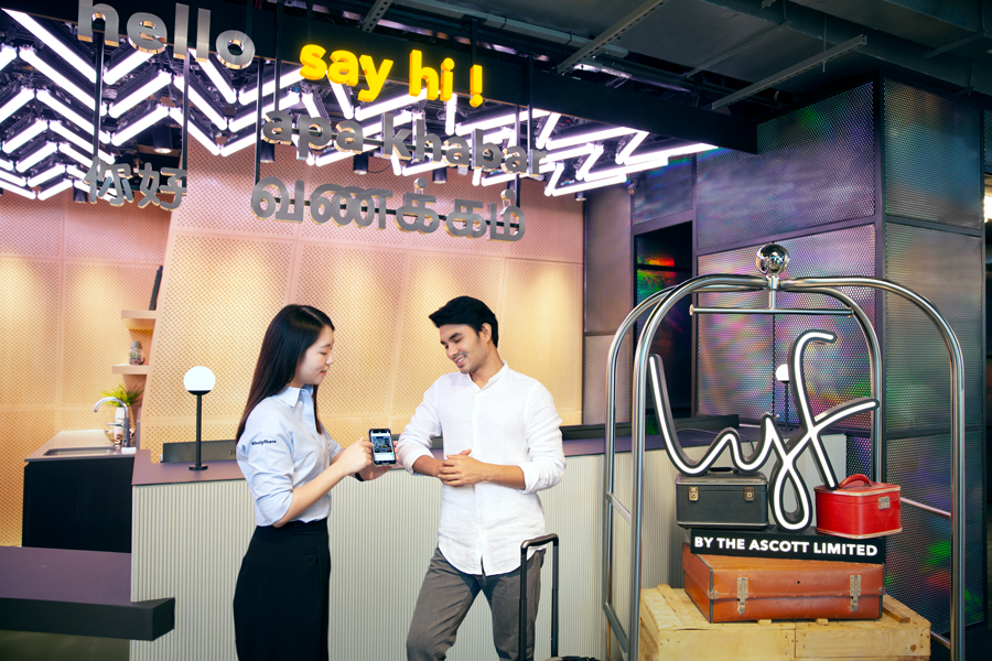 Check-in at the Say Hi reception counter at lyf Funan Singapore