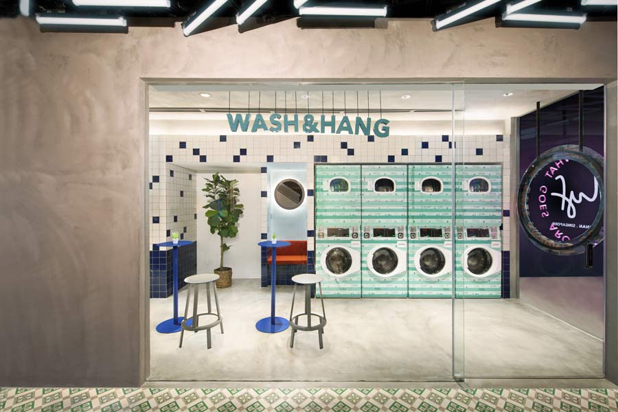 Wash and Hang at the Communal Laundromat at lyf Funan Singapore